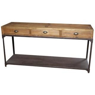 Reclaimed Elm Wood & Iron Hall Console w/3 Drawers & Shelf