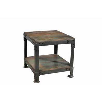 Square Wooden Table With Iron Frame