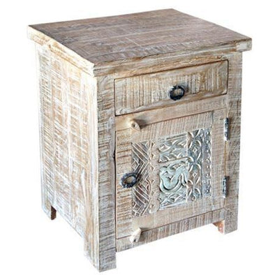 Carved Mango Wood Side Table Antique White