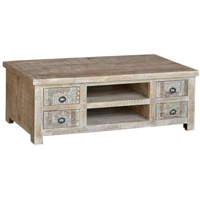 8 Drawer Carved Mango Wood  Coffee Table - Antique White