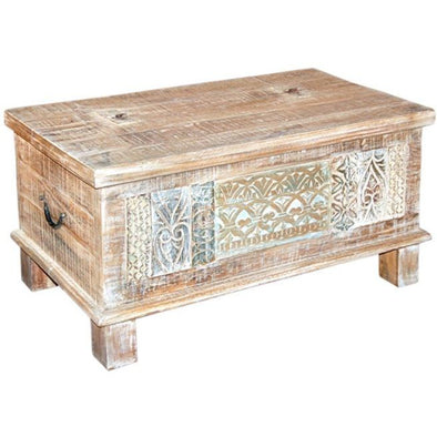 Carved Mango Wood Storage Chest/Table Small