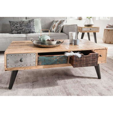 Mango Wood Eclectic Coffee Table w/Retro Legs