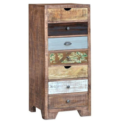 Eclectic Tall Boy Mango Wood Set of Drawers
