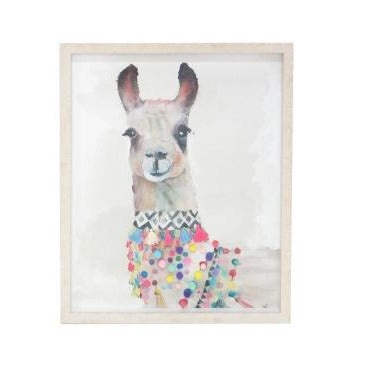 Llama Wooden Glass Framed Wall Art