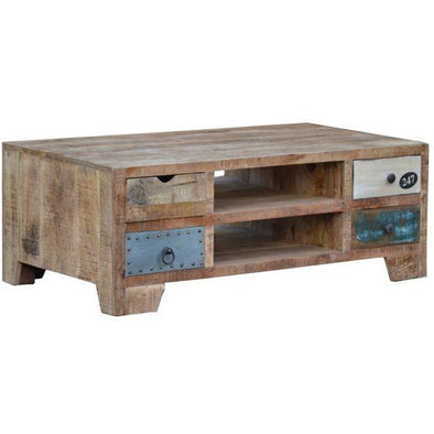 Mango Wood Coffee Table With 8 Drawers