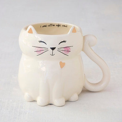 Mug Folk Cat I Need Coffee