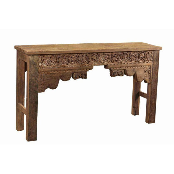 Bohemian Carved Wood Hall Table