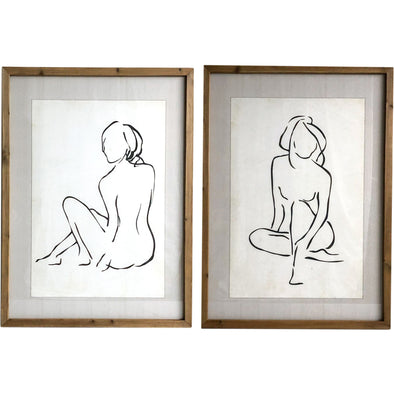 Wooden Glass Framed Nude Sketches 2 Assorted