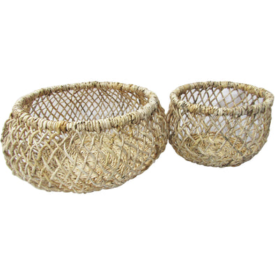 Bleached Banana Open Weave Baskets 2 Sizes