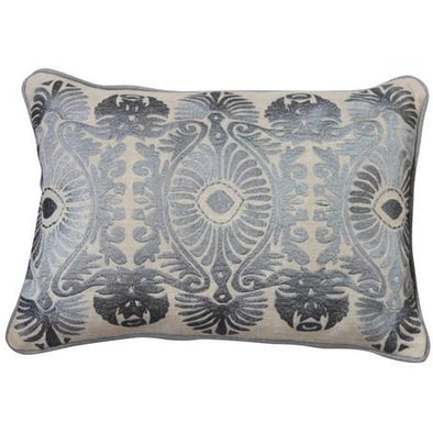 Embroidered Ornate Linen Cushion