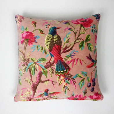 Velvet Bird of Paradise Cushion- PInk