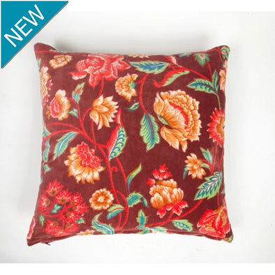 Velvet Cushion - Lily Red