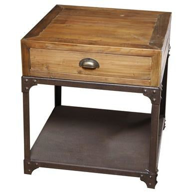 Reclaimed Wood & Iron Side Table w/ Drawer/Shelf