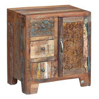 Reclaimed Wood 3 Drawer 1 Door Cabinet