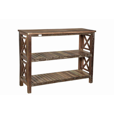 Cross Detail Wooden 3 Shelf Rack