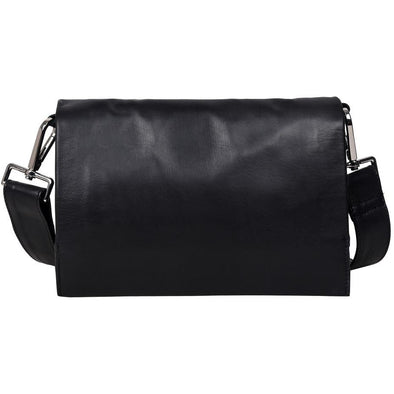 Louise Soft Leather Flap Handbag-Black