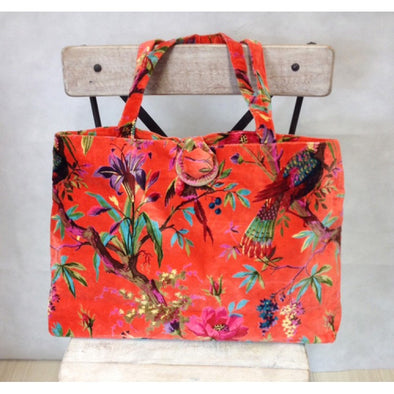 Large Velvet Bag Bird of Paradise- Burnt Orange