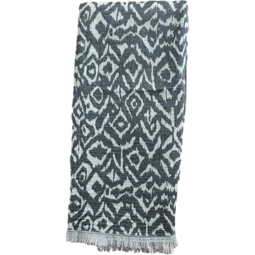 Merino Wool Throw Charcoal/Grey -Ikat Design