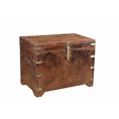 Vintage Wooden Chest with Brass Detail