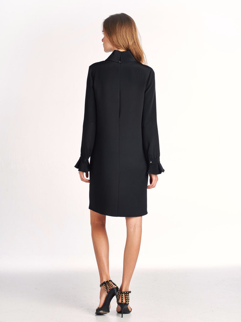 Long Sleeve Rolled Neck Dress - Black