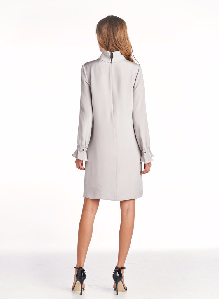 Long Sleeve Rolled Neck Dress - Opal Grey