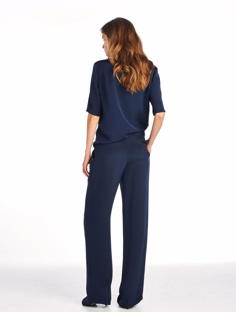 Wide Leg Trouser - Navy