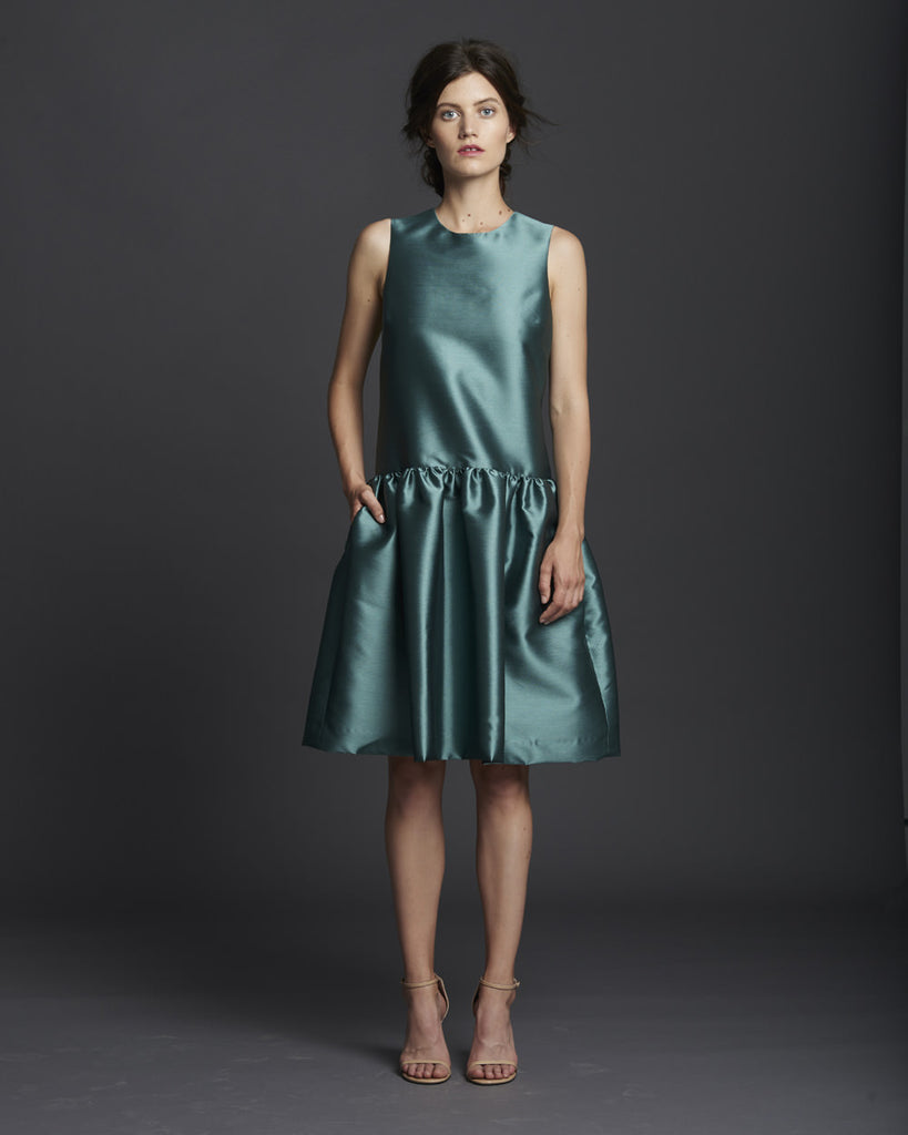 Sleeveless Dropwaist Dress w/ Shirring - Jade