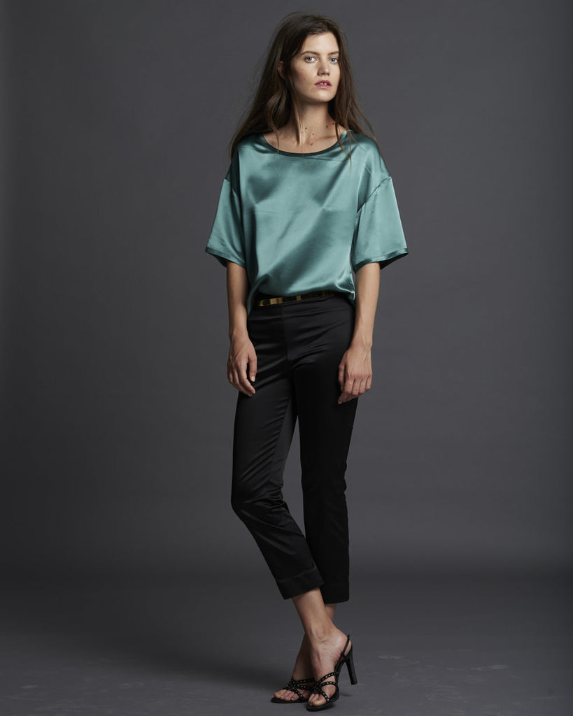 Stretch Duchesse Satin Cropped Pant
