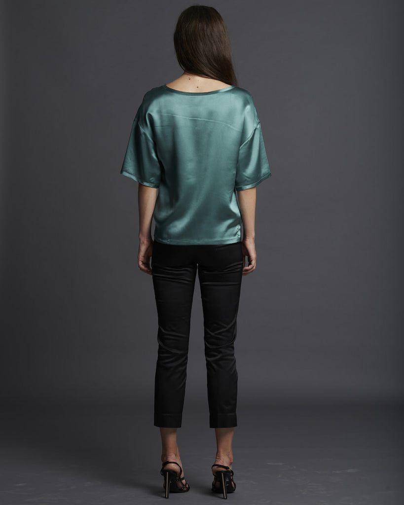 Drop Shoulder Silk T-Shirt