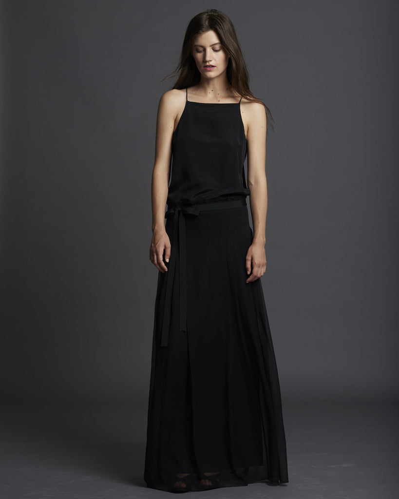 Chiffon Pleated Long Dress - Black