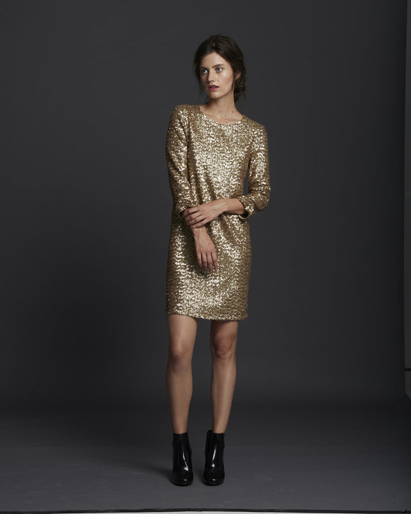 Shirred Sleeve Sequin Dress - Pale Gold