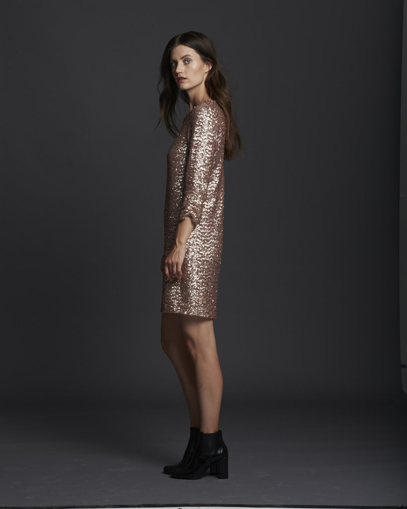 Shirred Sleeve Sequin Dress - Pink Frost