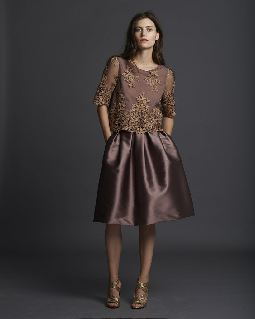 Lace Shell w/ Sleeves - Gold