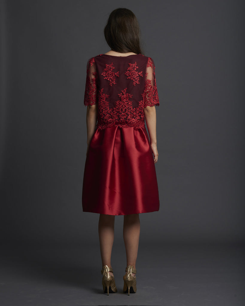 Lace Shell w/ Sleeves - Red