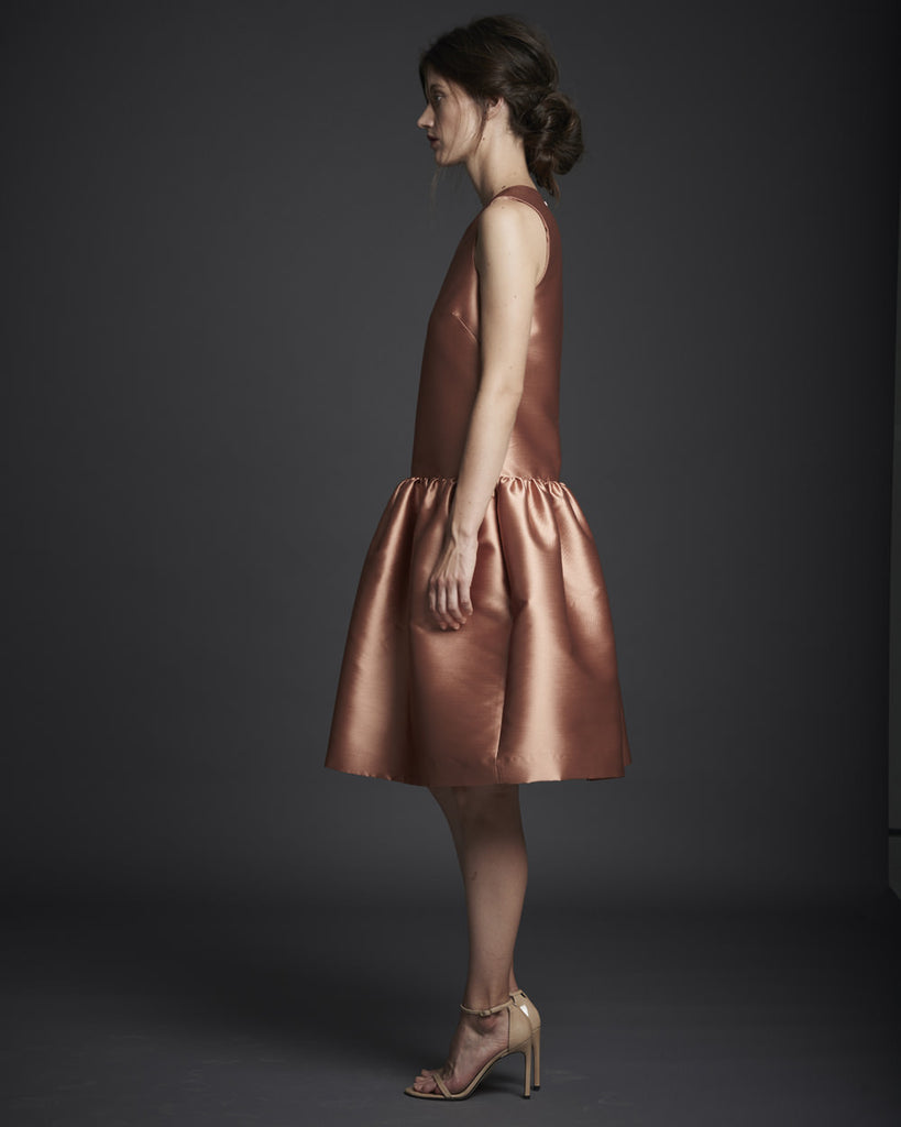 Sleeveless Dropwaist Dress w/ Shirring - Rose Gold