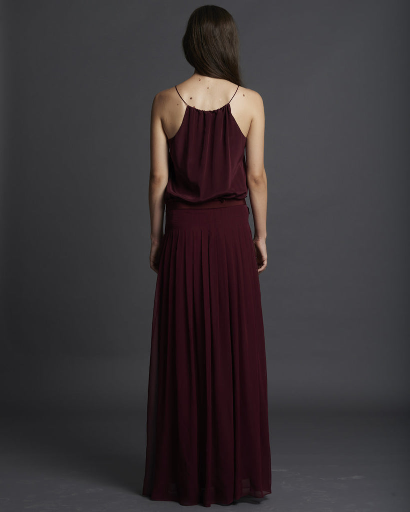 Chiffon Pleated Long Dress - Burgundy