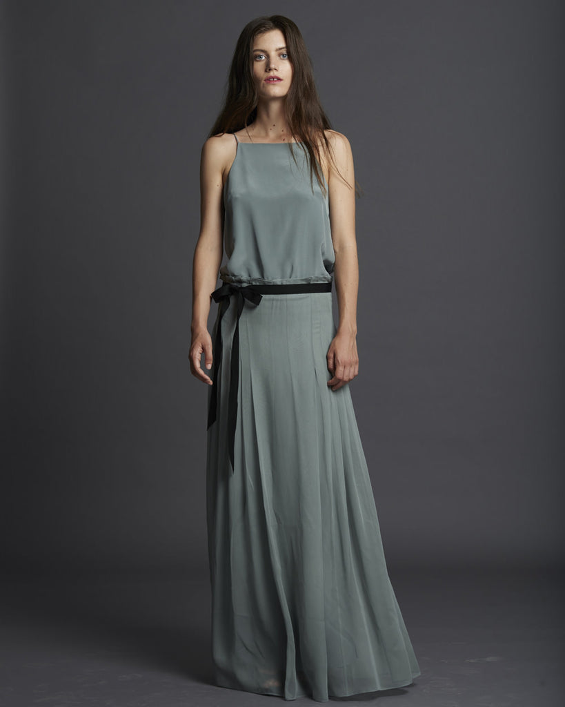 Chiffon Pleated Long Dress - Eucalyptus