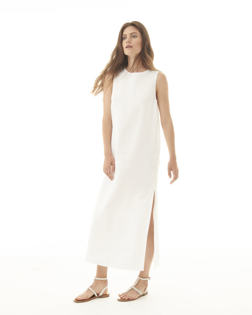 Sleeveless Shift Dress w/ High Side Slits - White