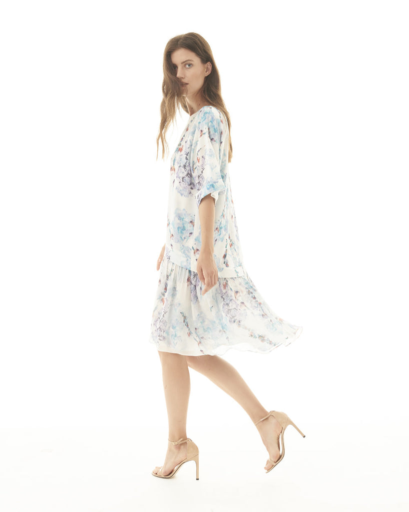 T-Shirt Dress - Soft Sky Floral