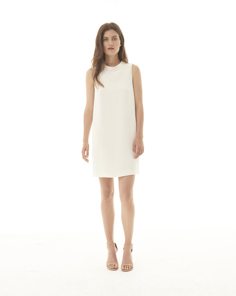 Side Slit Sleeveless Shift Dress - Off-White