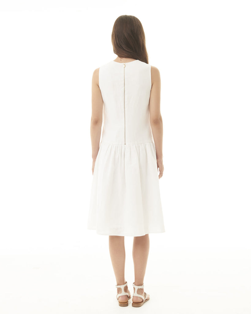 Sleeveless Dropwaist Dress - White
