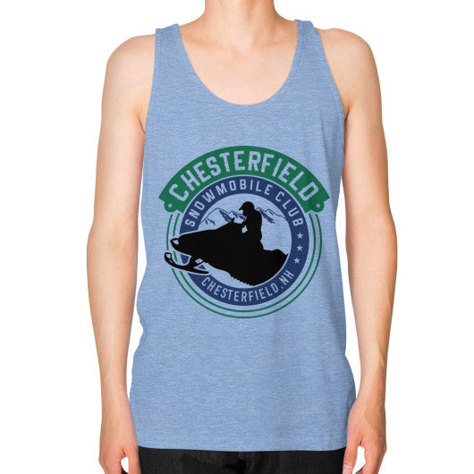 Unisex Fine Jersey Tank (on man) Tri-Blend Blue D'Angelo Woodcraft