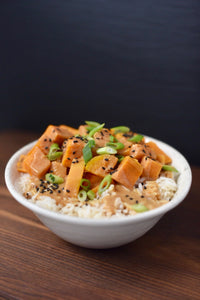 CBD Superfood Sweet Potato Rice Bowl with Peanut Sauce