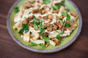 CBD Superfood Loaded Hempeh Fries with Tahini Drizzle