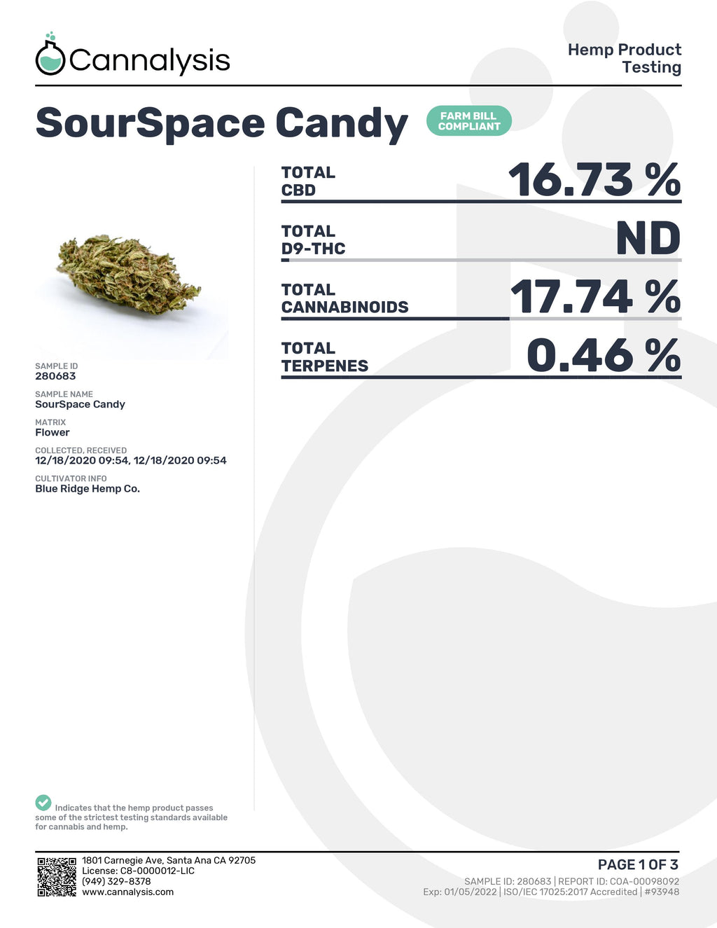 Sour Space Candy Strain Blue Ridge Selects Flower (New)