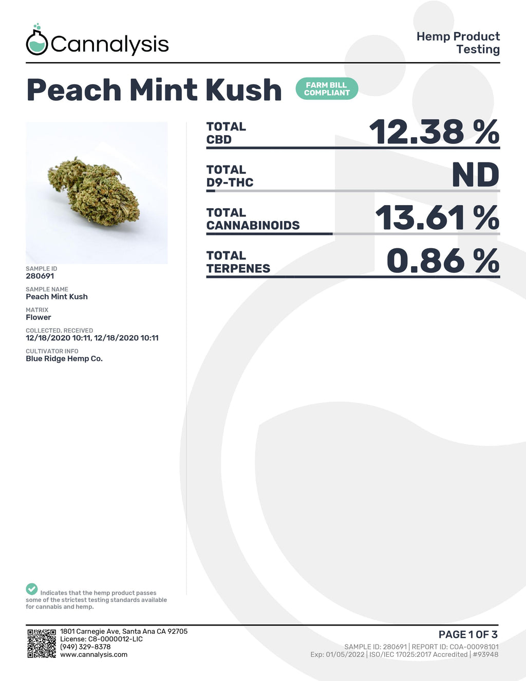 Peach Mint Kush Strain Blue Ridge Selects Flower (New)