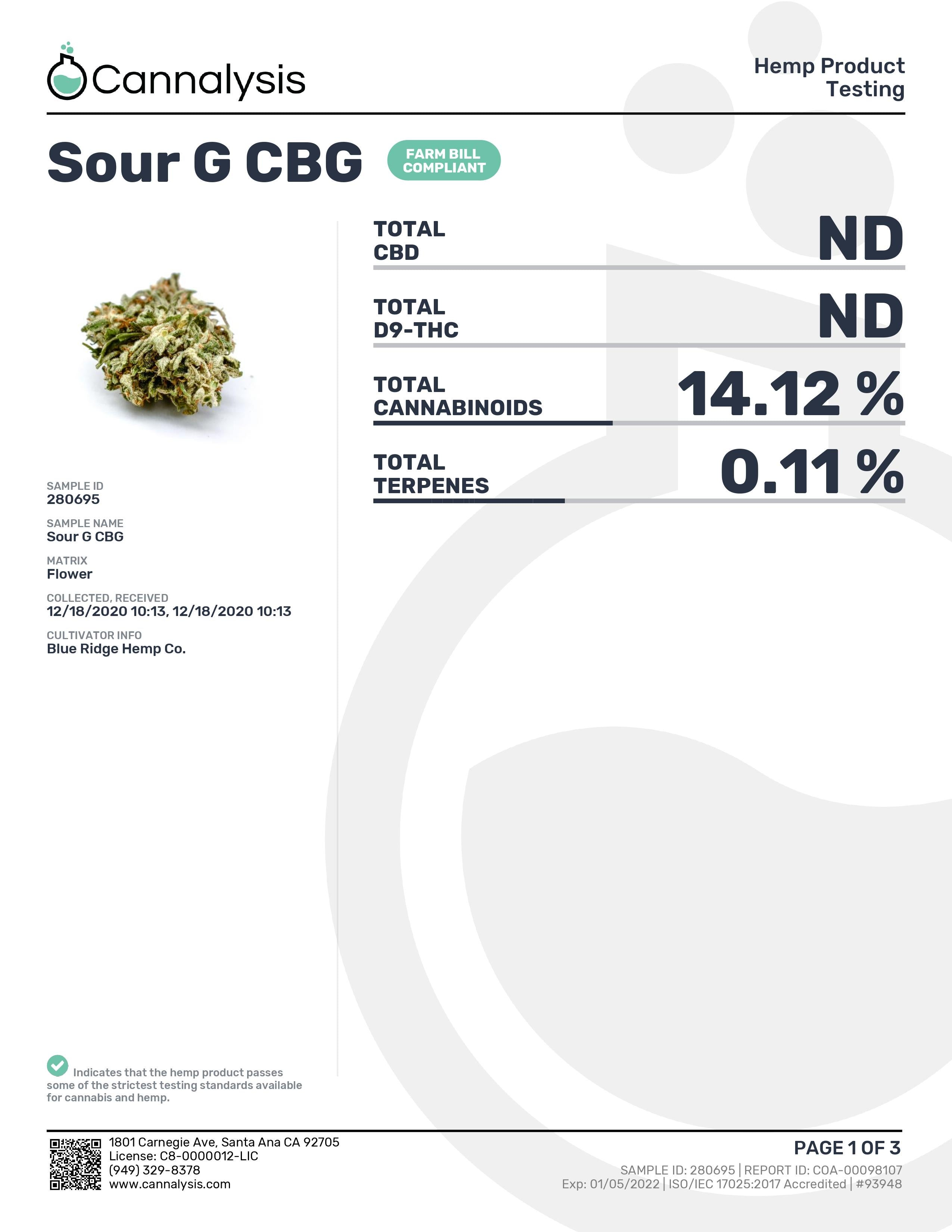 Sour G CBG Strain Blue Ridge Selects Flower (New)