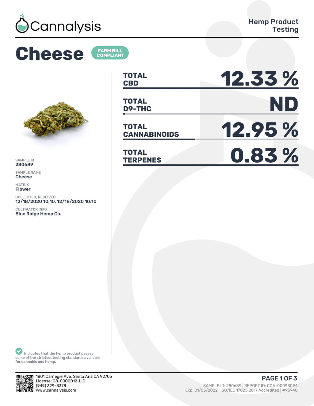 Cheese Strain Blue Ridge Selects Flower (New)