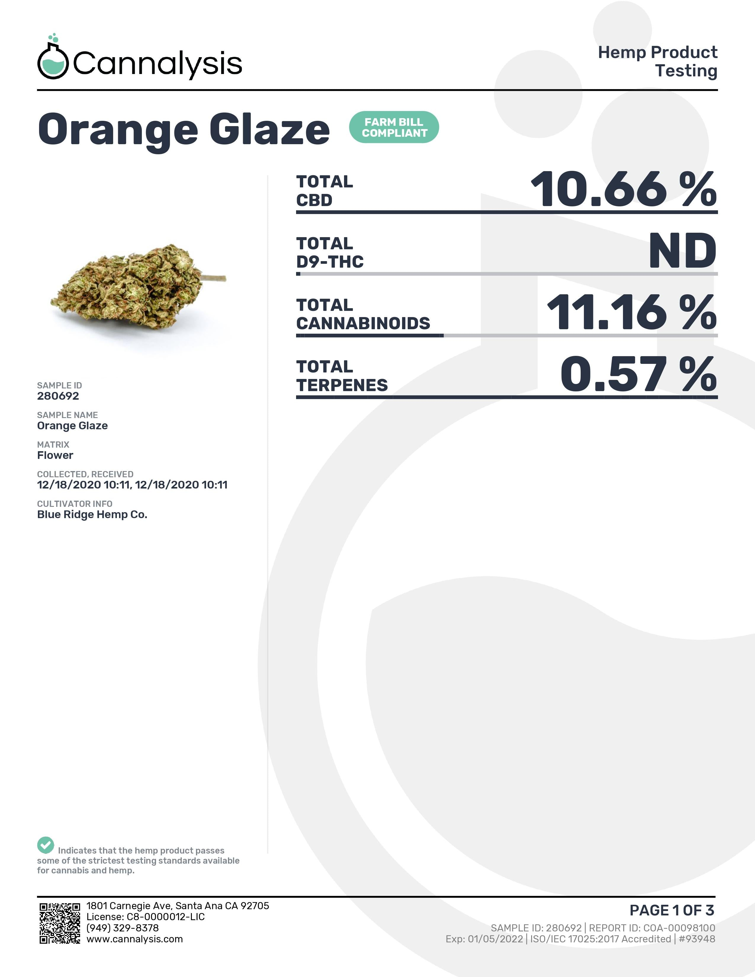 Orange Glaze Strain Blue Ridge Selects Flower (New)