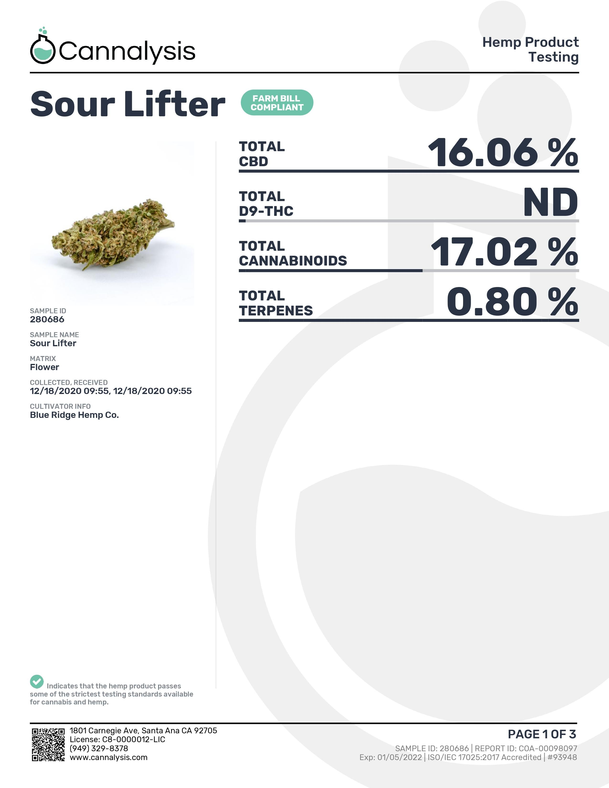 SOUR Lifter Strain Blue Ridge Selects Flower (NEW)